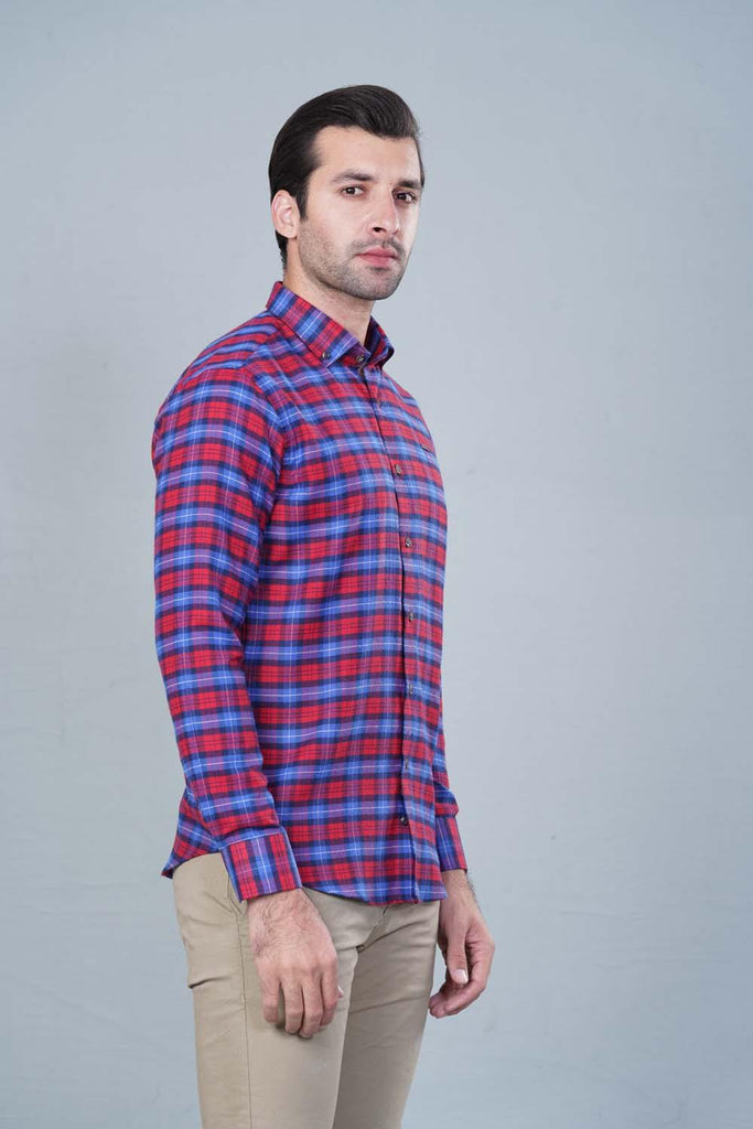 Red Blue Casual shirt HMWSF20020