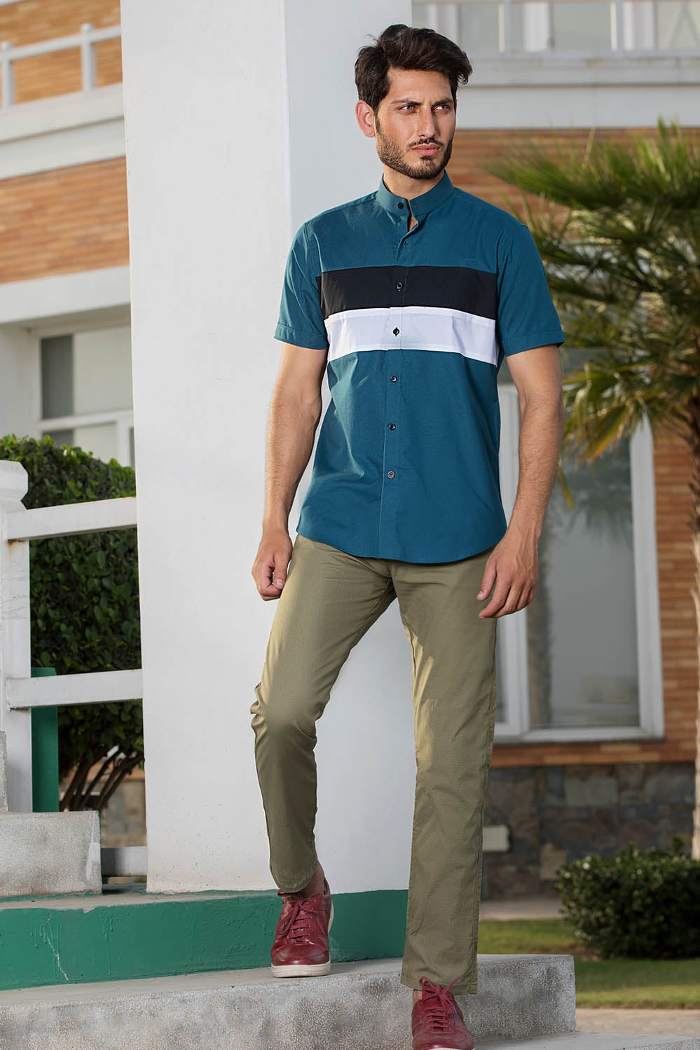 Color Blocking Short Sleeve Shirt - HOPE NOT OUT