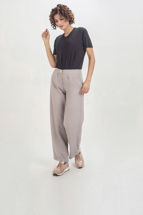 Grey Tropical Fabric Flarred Trouser