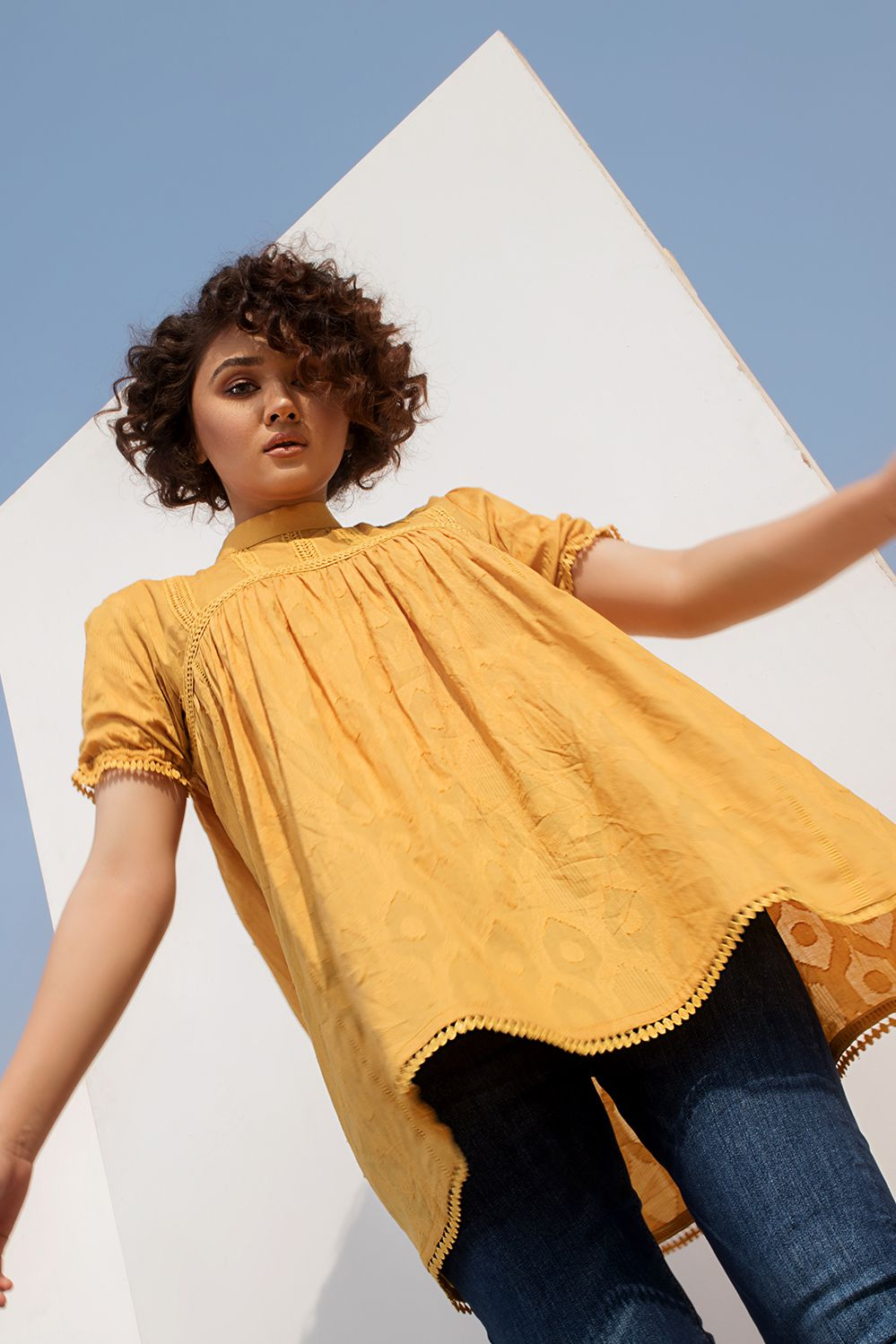 Yellow Cotton Jacquard Dress with Lace Detail - HOPE NOT OUT