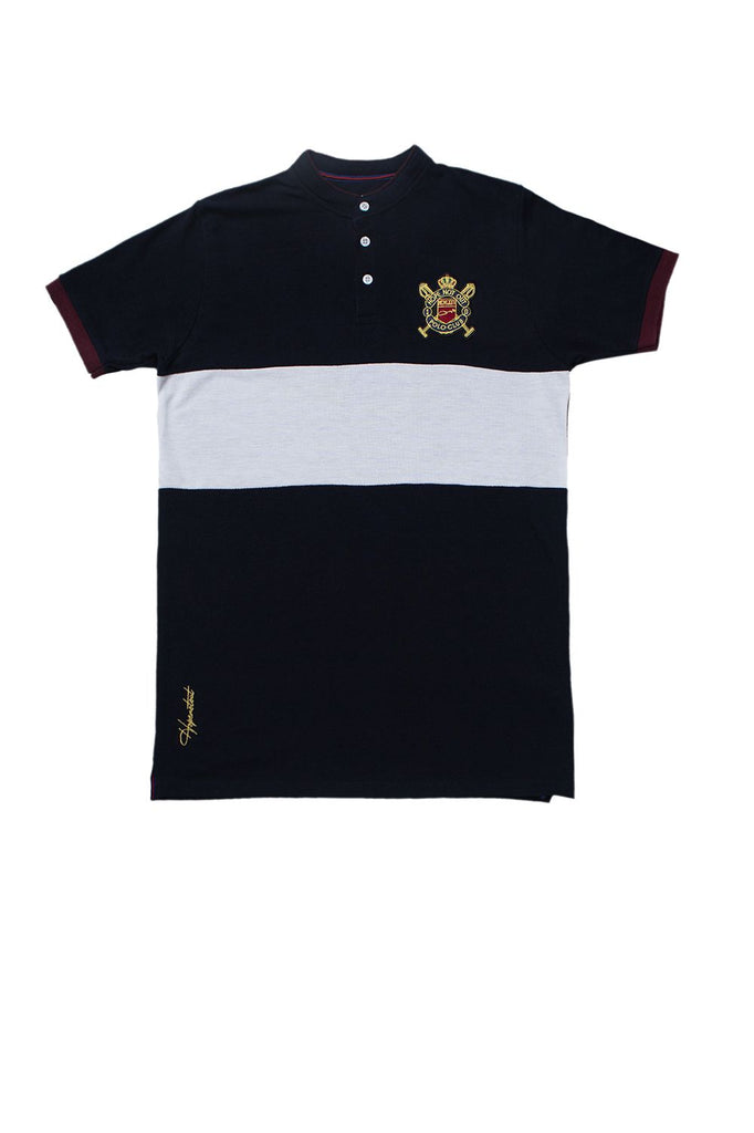 Premium Color Blocking Ban Polo with Embroided Chrest - HOPE NOT OUT