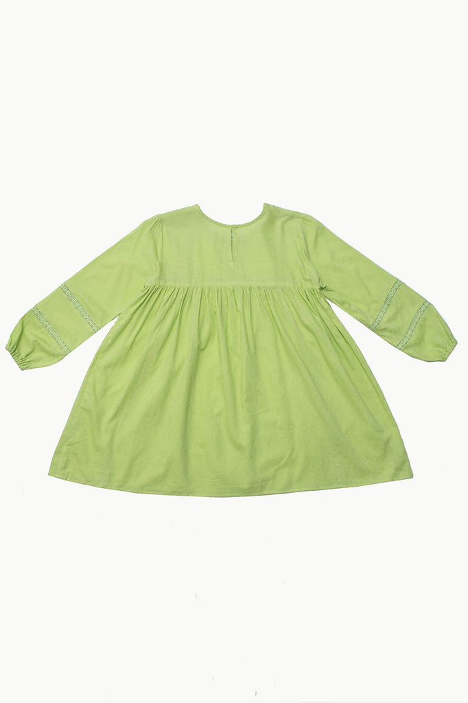 Green Cotton Jacquard Dress with Lace Detail - HOPE NOT OUT
