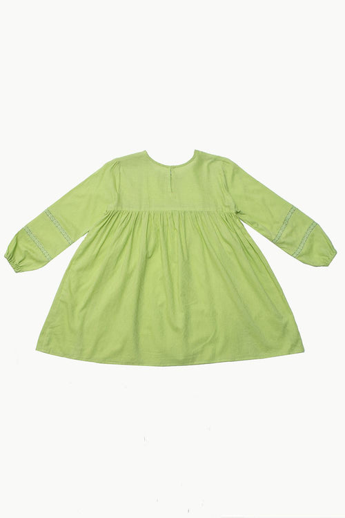 Green Cotton Jacquard Dress with Lace Detail
