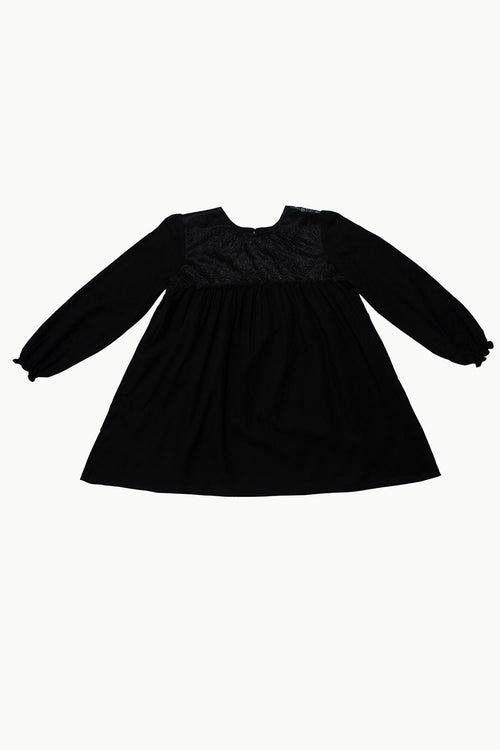 Black Cotton Jacquard Dress with Lace Detail