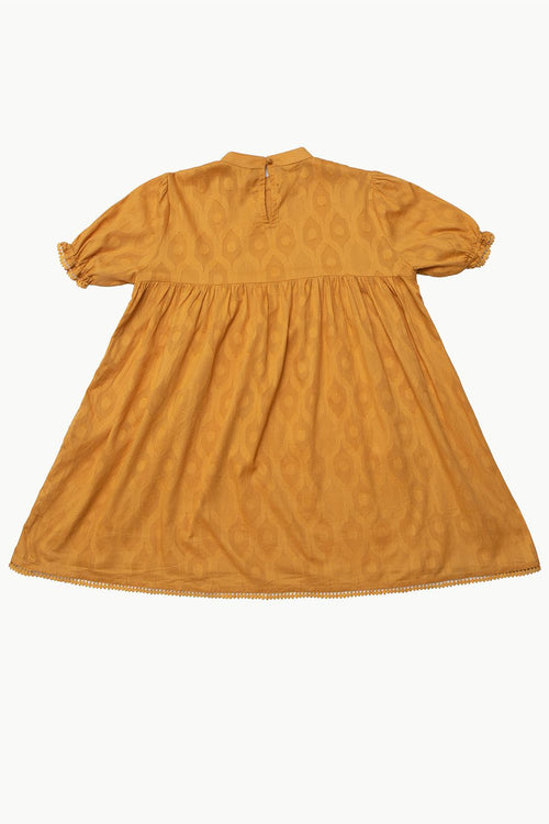 Yellow Cotton Jacquard Dress with Lace Detail