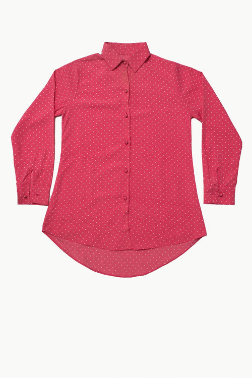 Polka Dot Pink Silk Shirt