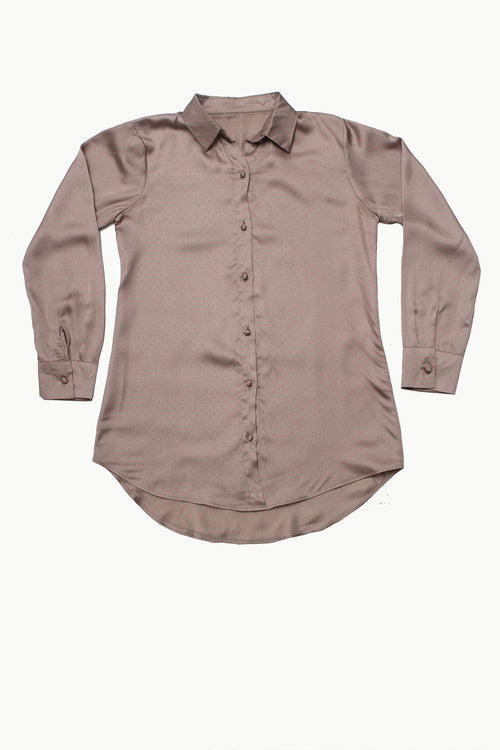 Polka Dot Grey Silk Shirt