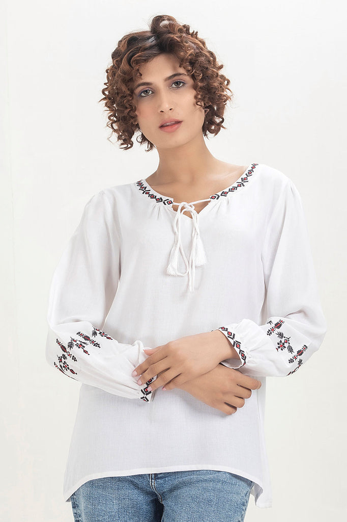 White Linen Embroided Top - HOPE NOT OUT