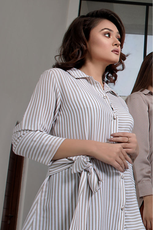 Silk Stripe Front Knot Long Shirt