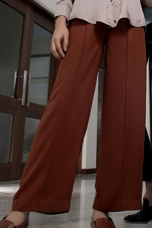 Rust Tropical Fabric Flarred Trouser