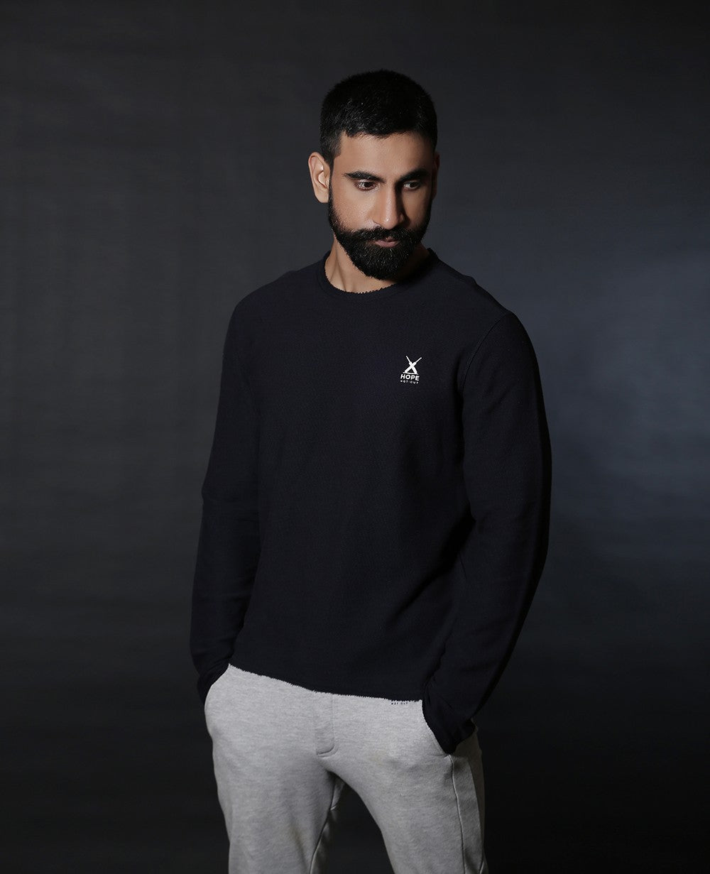 Raw Edged HNO Navy Sweatshirt