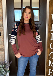 Mauve Floral and Stripes Top