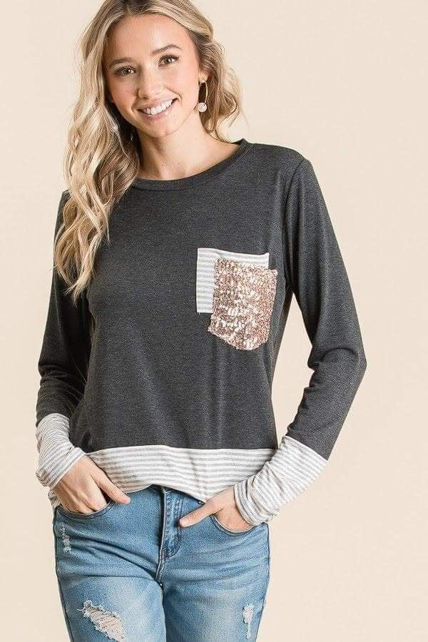 Gray Double Pocket Top