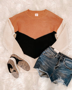 Oversized Mocha Color Block Sweater
