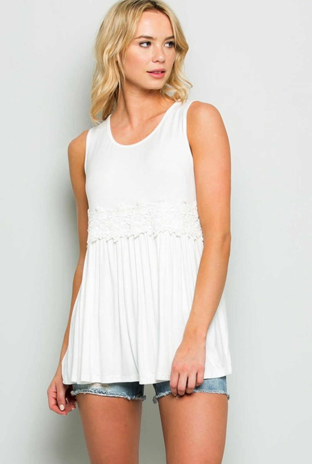 Favorite White Lace Babydoll Tank