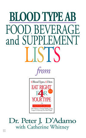 (Book) Blood Type AB: Food, Beverage and Supplemental Lists