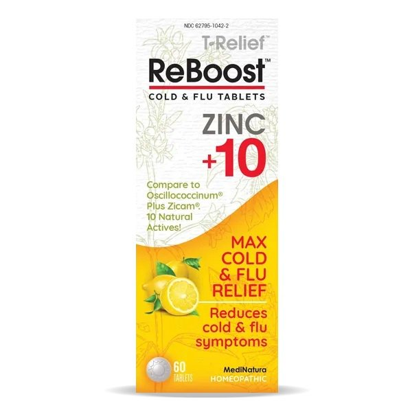 REBOOST COLD & FLU TABLETS ZINC +10 (60 tabs) MediNatura