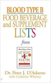 [Book] Blood Type B:  Food, Beverage and Supplemental Lists