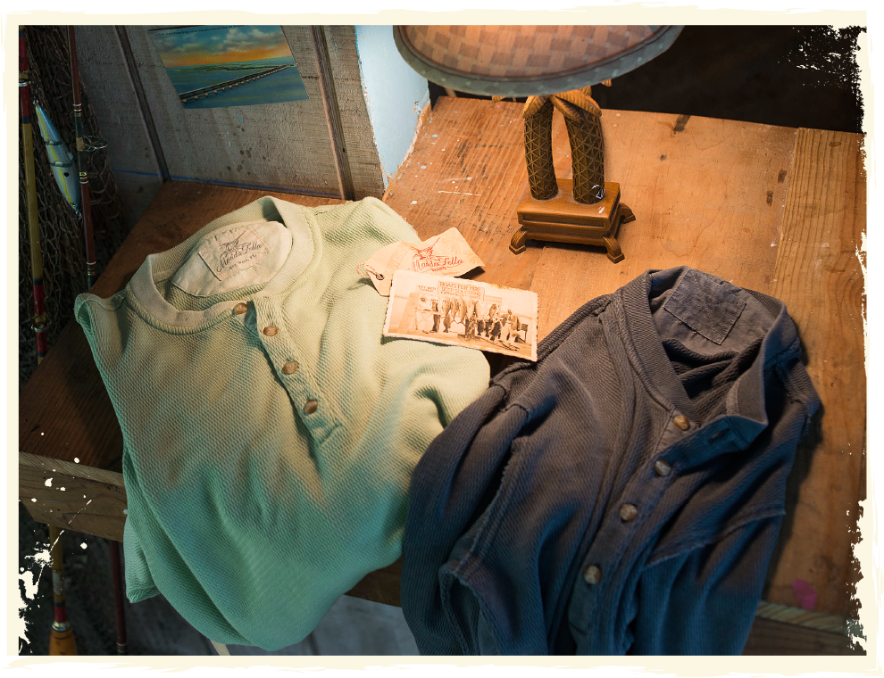 Henley shirts on a table