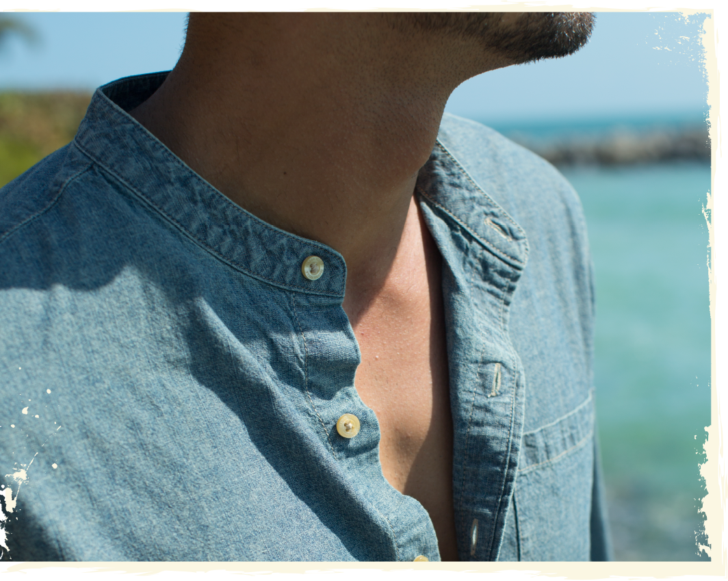 Close up of the Chambray button down shirt