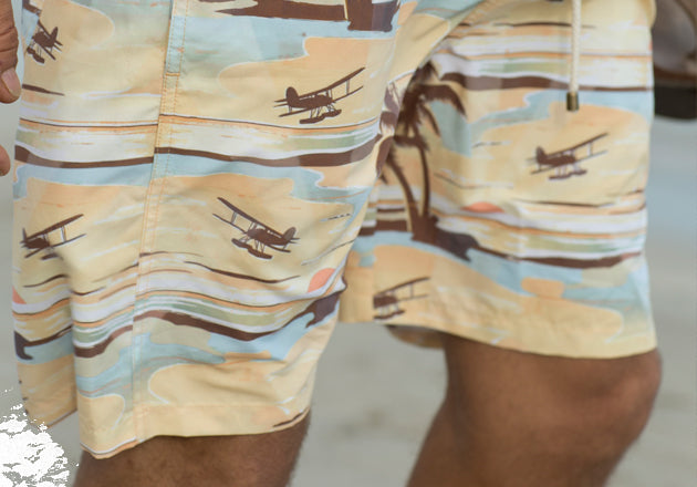 Close up of our sandbar swim trunks.