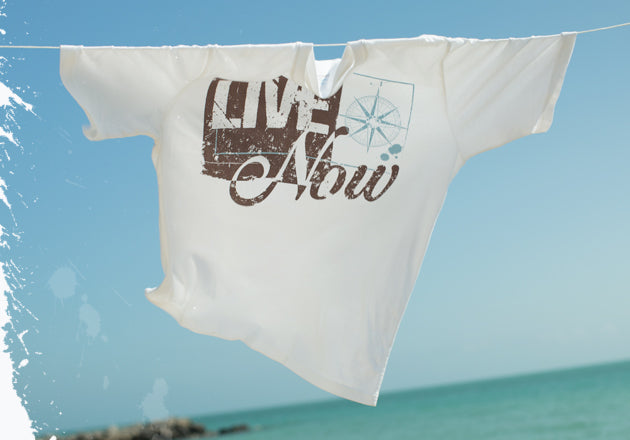 Stylish tshirt hung out to dry. Live Life Now.