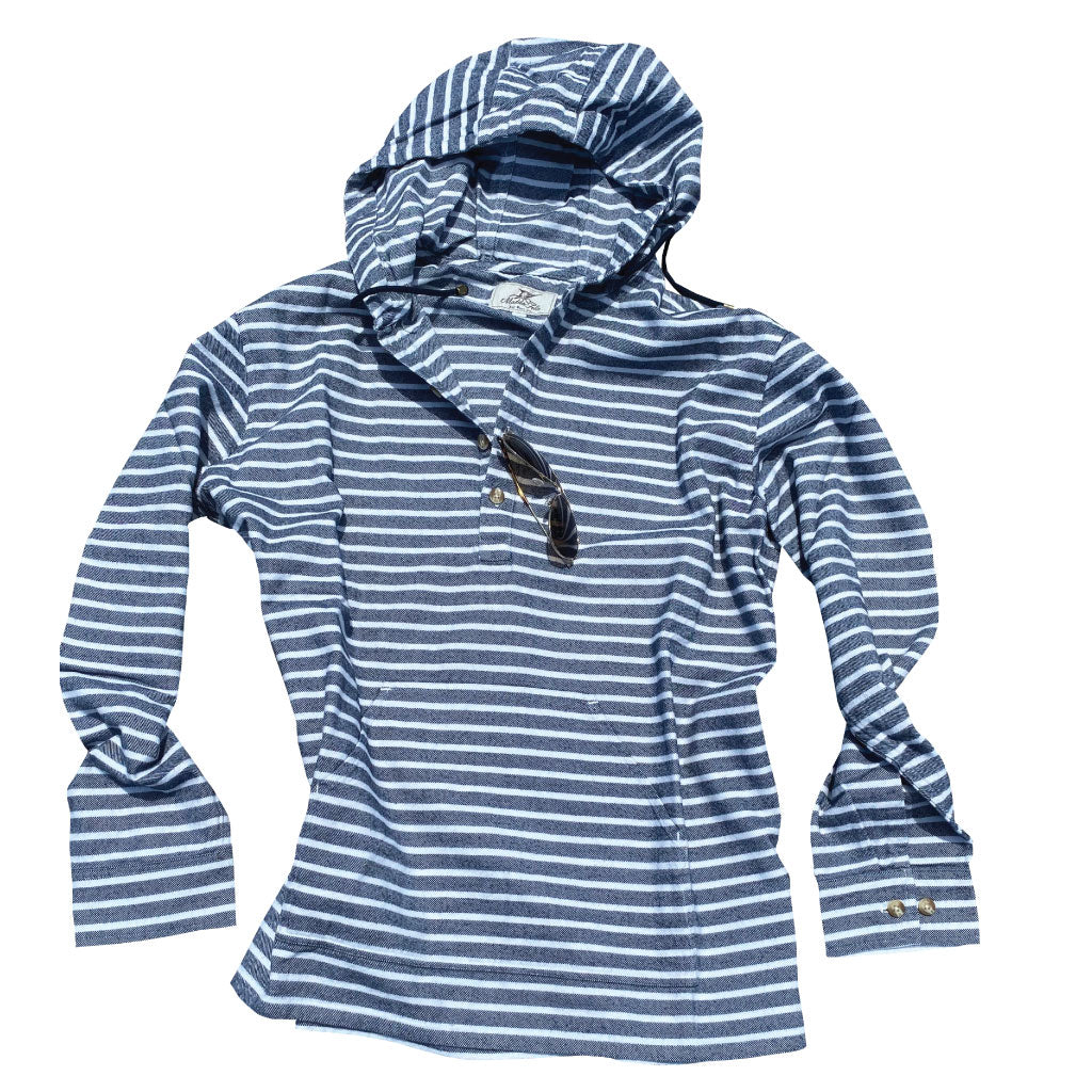 Castaway Hoodie - India Ink/White M No matter what the tide brings to your day, the Castaway Hoodie will wrap you in warmth and comfort that is ever so comfortable. 100% double-brushed cotton Yarn-dyed, with a heavy garment wash Four button chest and one button sleeve plackets Machine wash Medium weight, the Castaway Hoodie follows the styling and casual comfort of our Castaway Collection.