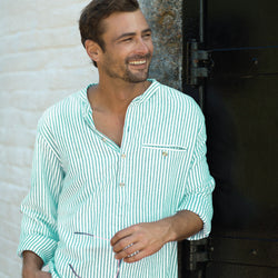 Beach Glass/White Stripe Castaway Shirt