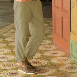 Khaki Oxford Cross Dye Roll Up Pant sand