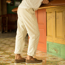 Sand Oxford Cross Dye Roll Up Pant
