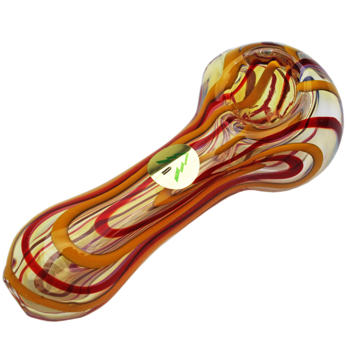 "Tree Glass 4"" Red & Yellow Stripey Glass Pipe - Tree Glass"