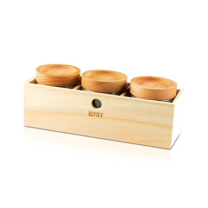 RYOT Jar Box with 3 Clear Jars with Beech Lid - Ryot