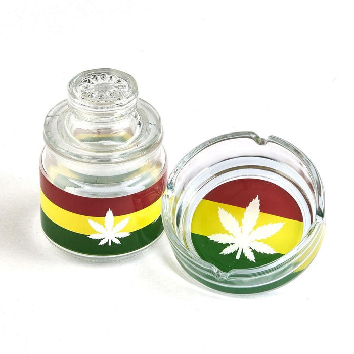 Glass Stash Jar And Ash Tray Set Rasta - Roasted and Toasted