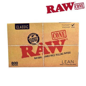 Raw Classic Natural Unrefined Pre-Rolled Lean Cones - Bulk Box/800