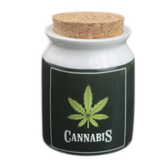 Ceramic Cannabis Cork Stash Jar Large - Roasted and Toasted