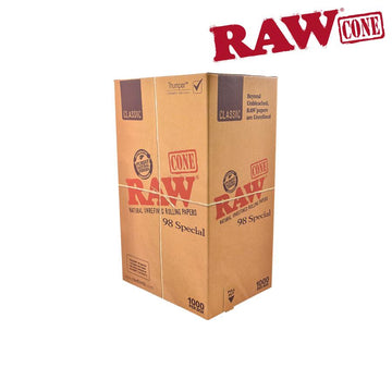 Raw Classic Natural Unrefined Pre-Rolled 98 Special Cones - Bulk Box/1400