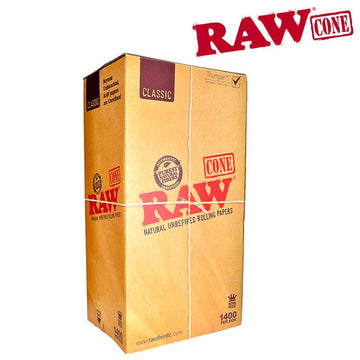 Raw Classic Natural Unrefined Pre-Rolled King Size Cones - Bulk Box/1400