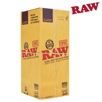 Raw Classic Natural Unrefined Pre-Rolled 1 1/4 Cones - Bulk Box/900