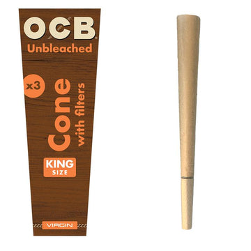 RTL - Rolling Papers OCB Virgin Unbleached Pre-Rolled King Size Cones 3-Pack