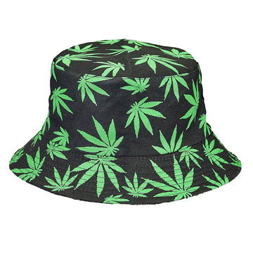 Bucket Hat Black Hat With Green Leaves
