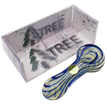 "Tree Glass 4"" Fumed Colour Stripes Glass Pipe"