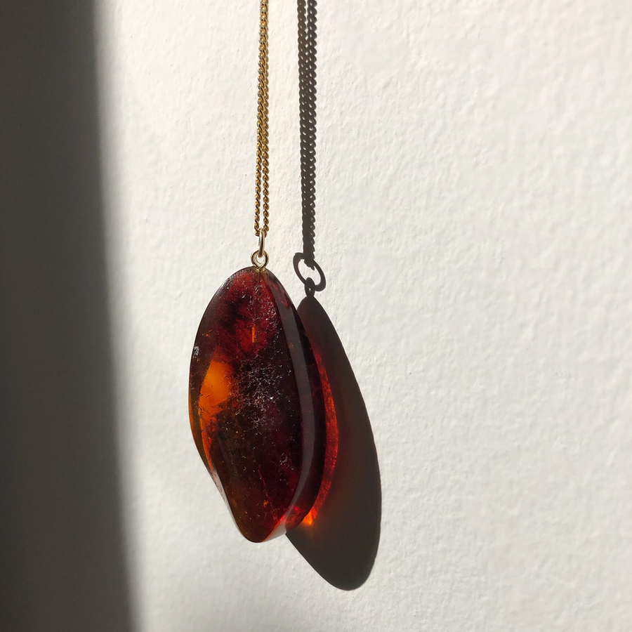 N·012 Raw Ruby Amber pendant
