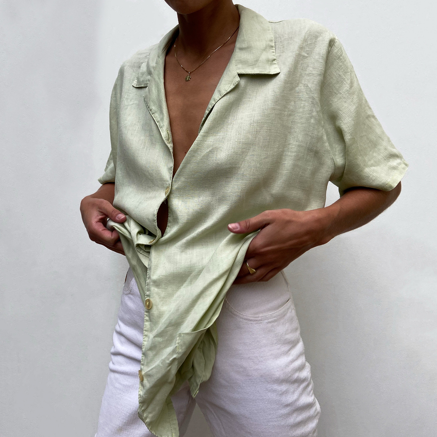 Vintage Mint Green Linen blouse