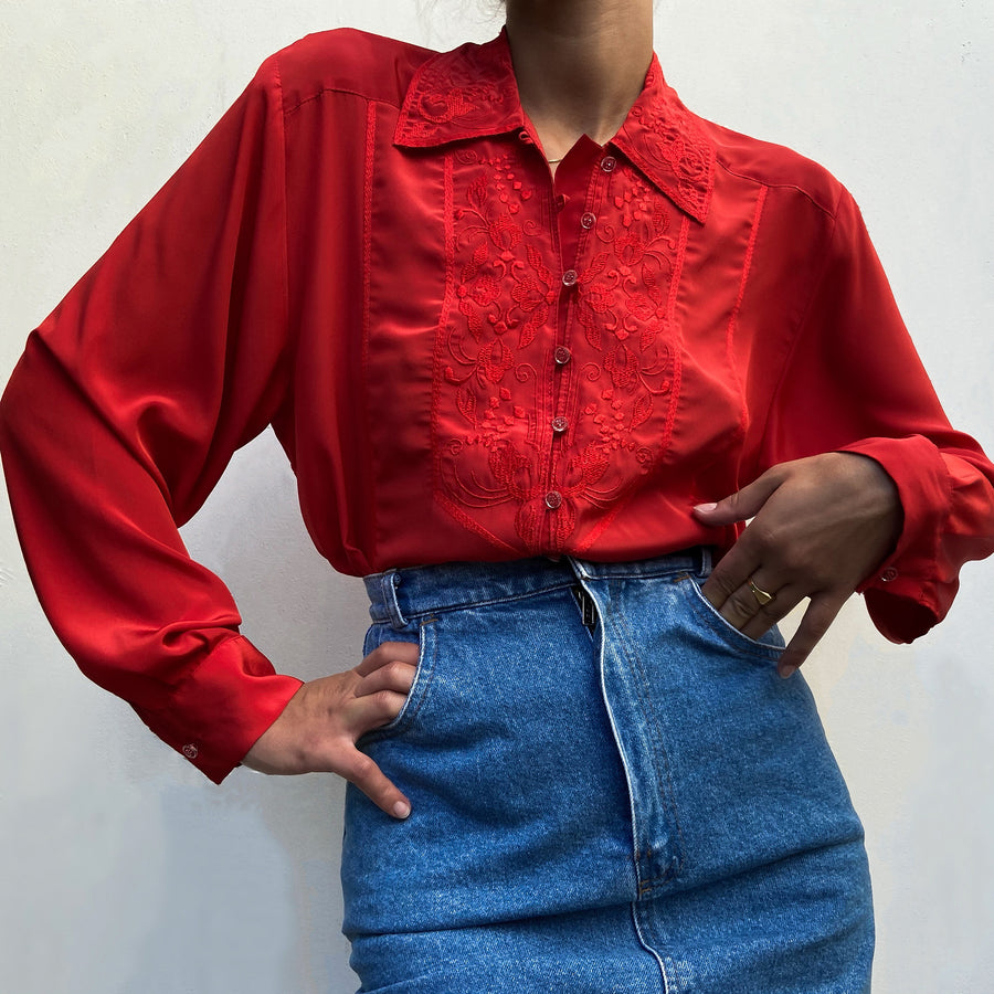 Vintage Embroidery Chilli Red button up