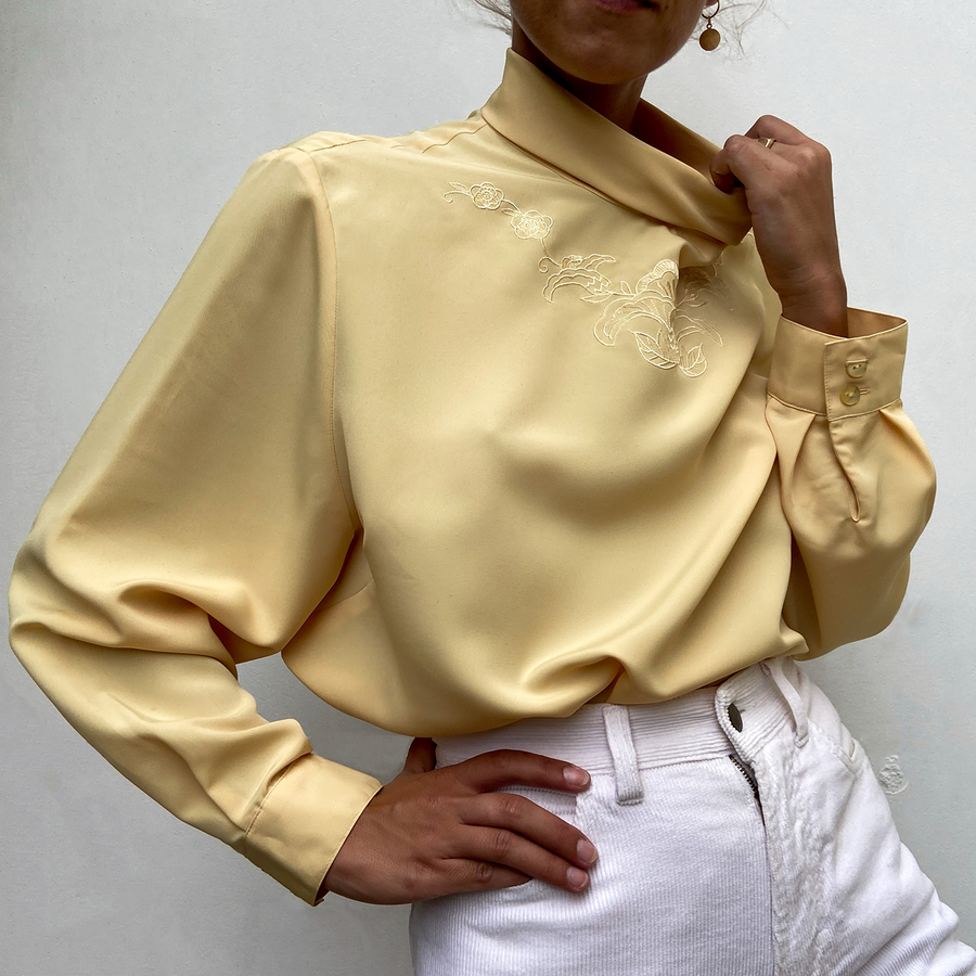 Vintage Tangerine Yellow Turtle neck blouse