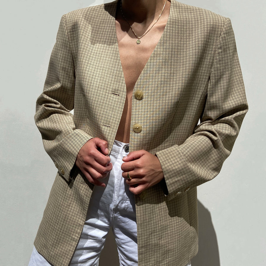 Vintage Beige checkered fitted Blazer