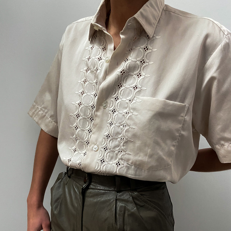 Vintage embroidered Beige blouse