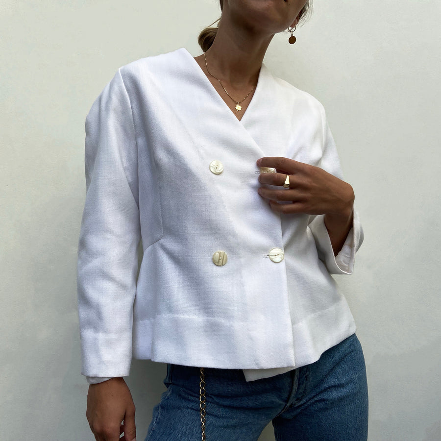 Vintage White short sleeved blazer