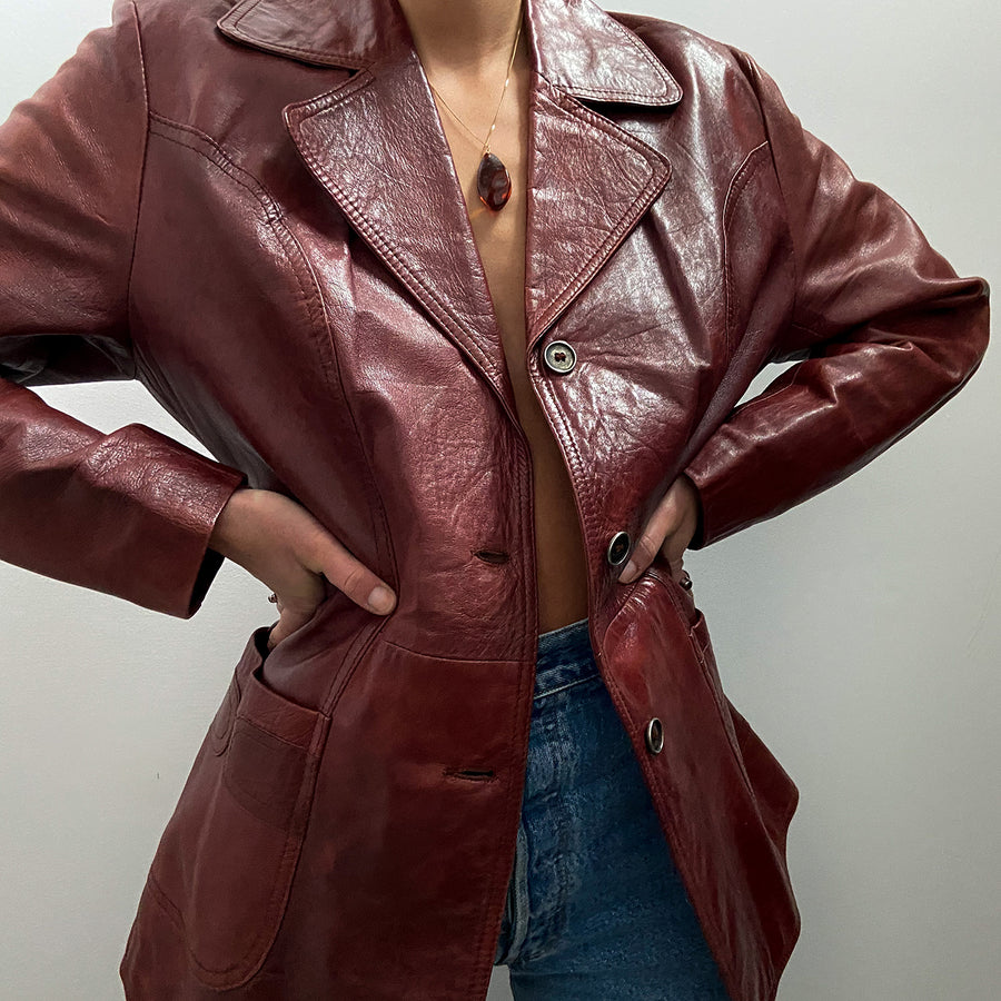 Vintage 70's Burgundy Genuine Leather jacket
