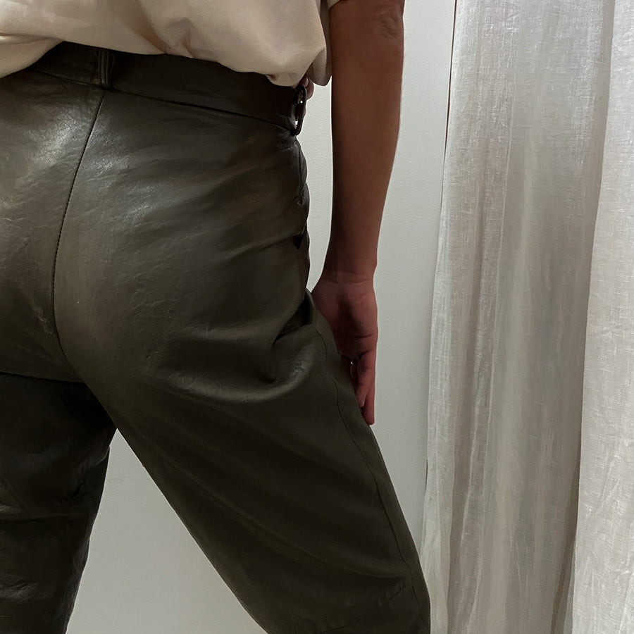 Vintage Genuine Olive leather trousers